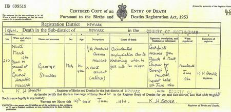 George Stoakes Death Certificate