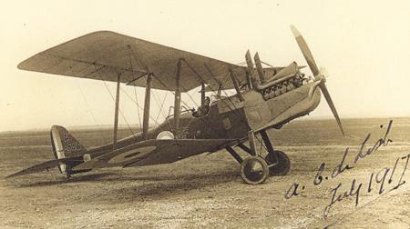 Alexander De Lisle in his aircraft, July 1917