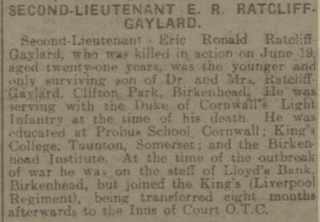 Report of 2nd Lieut Ratcliffe-Gaylard's death