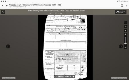 Record of military history of injuries and medals