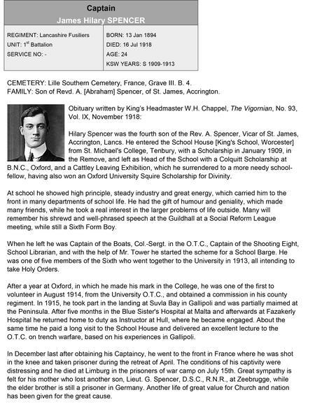 Obituary for James Hilary Spencer