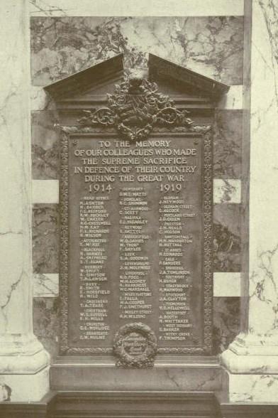Original Lancashire & Yorkshire Bank WW1 Memorial