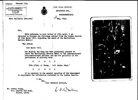 Copy of War Office letter to Lieutenant A. Young