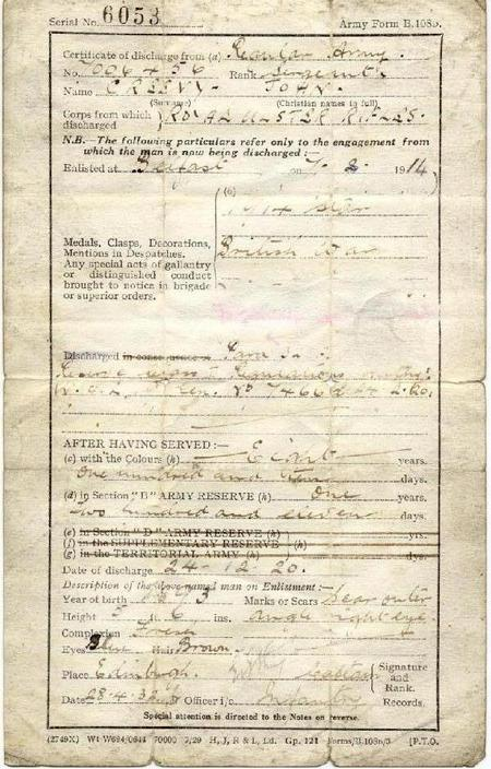 John Creevy British Army Discharge Certificate