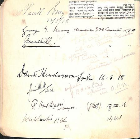 Page from Paris Leave Club Visitors' Book