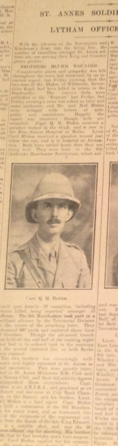 Newspaper Cutting:St Annes Bluhm Brothers Wounded