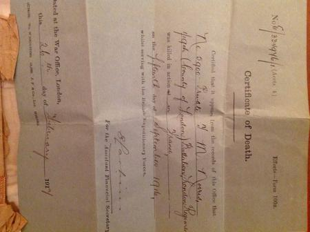 Death Certificate from the War Office