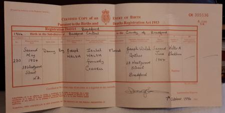Copy Danny Walsh Birth Certificate