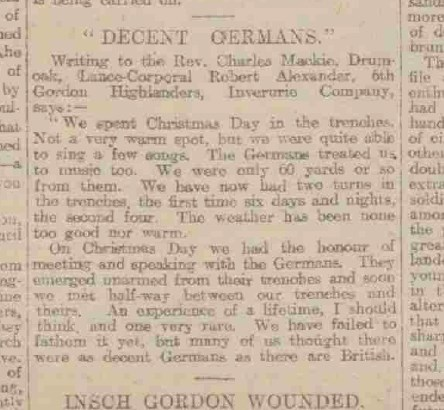 Newspaper article from Christmas 1915