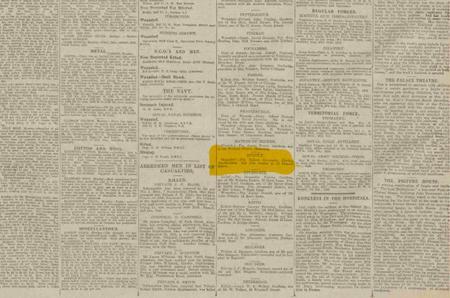 Newspaper article Nov 28 1916