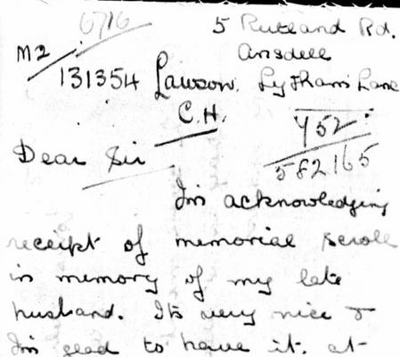 A Letter from Charles Lawson's Wife